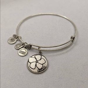 Alex and Ani friend wire bangle silver tone